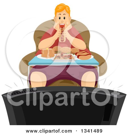 Clipart of a Fat Red Haired White Man Binge Eating in Front of a Tv - Royalty Free Vector Illustration by BNP Design Studio