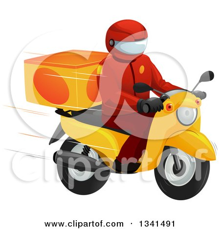Clipart of a Fast Food Delivery Driver on a Motorcycle - Royalty Free Vector Illustration by BNP Design Studio