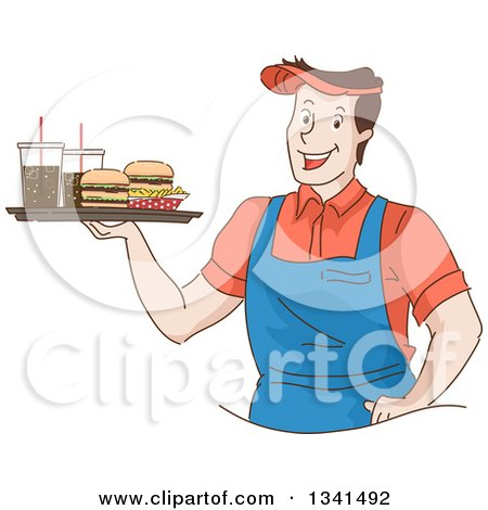 Clipart of a Sketched Happy White Male Waiter Holding a Tray of Fast Food Burgers, Fries and Sodas - Royalty Free Vector Illustration by BNP Design Studio