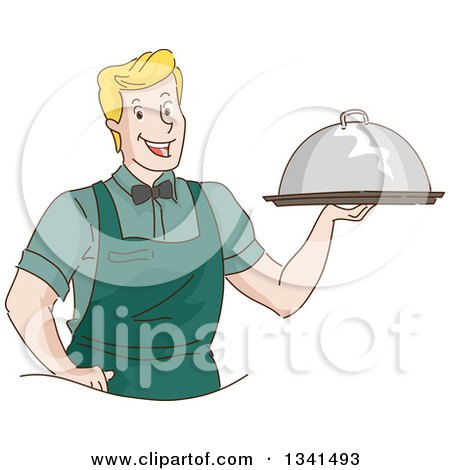 Clipart of a Sketched Blond White Waitor Serving a Cloche Platter - Royalty Free Vector Illustration by BNP Design Studio