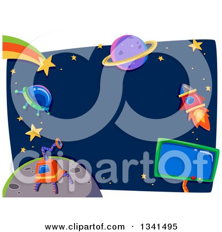 Clipart of a Ufo, Robot, Rocket, Shooting Star and Planet Frame - Royalty Free Vector Illustration by BNP Design Studio