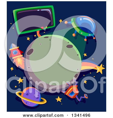 Clipart of a Ufo Shining Light on a Planet, Framed with a Robot, Rocket, Shooting Star and Sign - Royalty Free Vector Illustration by BNP Design Studio