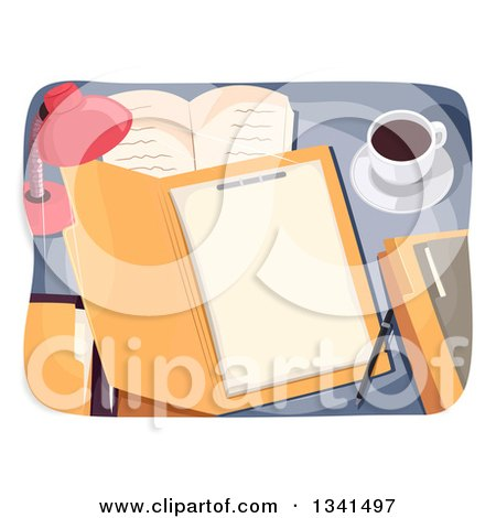 Clipart of a Desk Lamp Shining on a File - Royalty Free Vector Illustration by BNP Design Studio