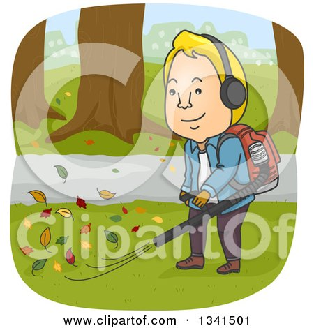 Clipart of a Cartoon Blond White Man Using a Leaf Blower - Royalty Free Vector Illustration by BNP Design Studio