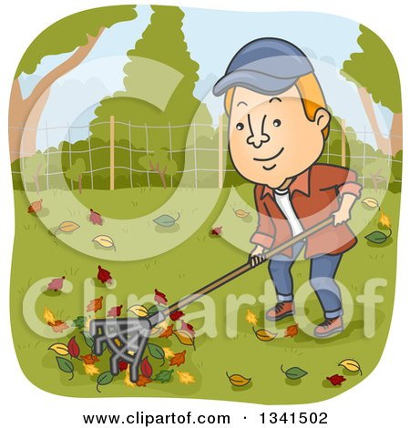 Clipart of a Cartoon Red Haired White Man Raking Autumn Leaves in His Yard - Royalty Free Vector Illustration by BNP Design Studio