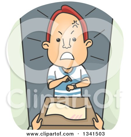 Clipart of a Cartoon Angry Red Haired White Man Receiving a Late Delivery - Royalty Free Vector Illustration by BNP Design Studio