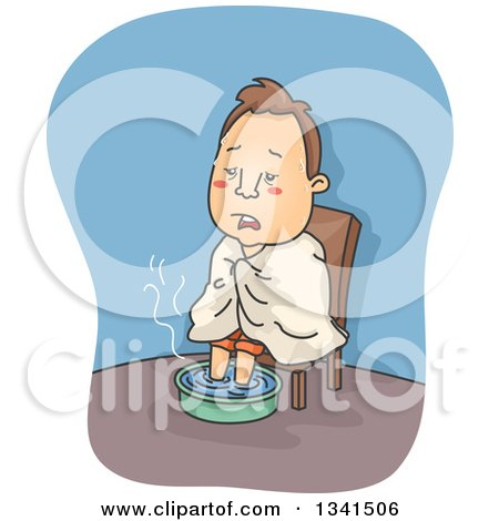 Clipart of a Cartoon Sick White Man with the Flu, Soaking His Feet in Hot Water - Royalty Free Vector Illustration by BNP Design Studio