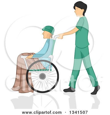 Clipart of a Sketched White Male Nurse Pushing a Patient in a Wheelchair - Royalty Free Vector Illustration by BNP Design Studio