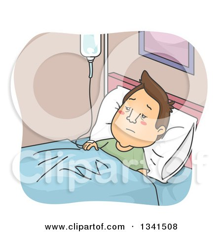 Clipart of a Cartoon Brunette White Man in the Hospital, Hooked up to an IV Drip - Royalty Free Vector Illustration by BNP Design Studio