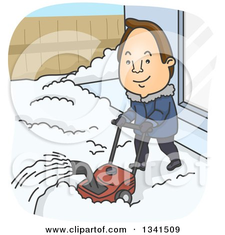 Clipart of a Cartoon Brunette White Man Using a Snow Blower in His Yard - Royalty Free Vector Illustration by BNP Design Studio