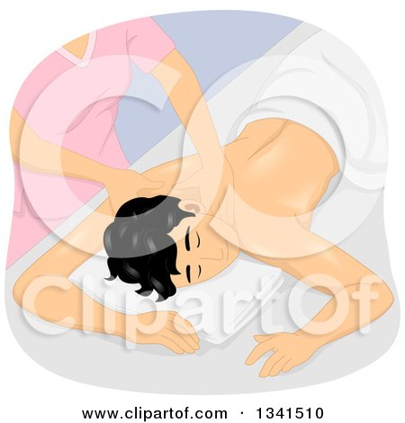 Clipart of a Relaxed Man Receiving a Spa Massage - Royalty Free Vector Illustration by BNP Design Studio