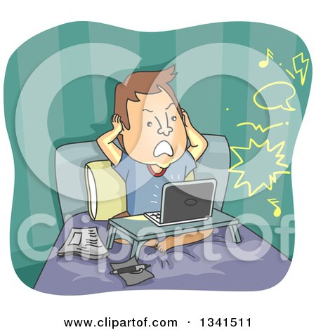 Clipart of a Cartoon Frustrated Caucasian Man Covering His Ears in Bed While Hearing Noise from the Neighbors - Royalty Free Vector Illustration by BNP Design Studio