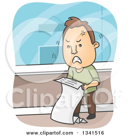 Clipart of a Cartoon Angry Brunette White Man Reviewing a Billing Statement - Royalty Free Vector Illustration by BNP Design Studio