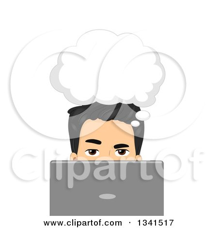 Clipart of a Thinking Asian Man Behind a Laptop Computer - Royalty Free Vector Illustration by BNP Design Studio