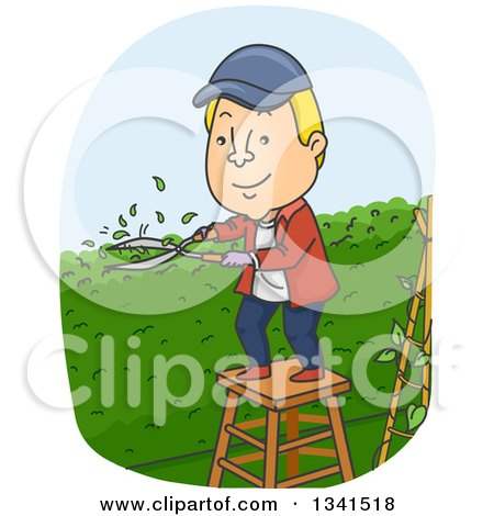Clipart Of A Cartoon Blond White Man Trimming a Garden Hedge in His ...