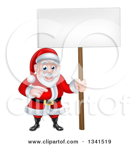 Clipart of a Cartoon Christmas Santa Claus Pointing and Holding a Blank Sign - Royalty Free Vector Illustration by AtStockIllustration