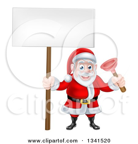 Clipart of a Happy Plumber Christmas Santa Claus Holding a Plunger and Blank Sign - Royalty Free Vector Illustration by AtStockIllustration