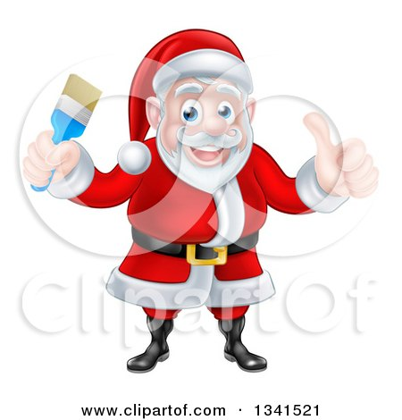 Clipart of a Christmas Santa Claus Giving a Thumb up and Holding a Blue Paintbrush - Royalty Free Vector Illustration by AtStockIllustration