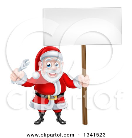 Clipart of a Happy Christmas Santa Holding an Adjustable Wrench Tool and Blank Sign - Royalty Free Vector Illustration by AtStockIllustration