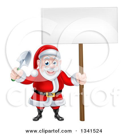 Clipart of a Cartoon Santa Holding a Garden Trowel and Blank Sign - Royalty Free Vector Illustration by AtStockIllustration