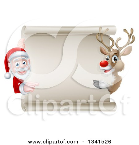 Clipart of a Cartoon Christmas Rudolph the Red Nosed Reindeer and Santa Pointing Around a Blank Scroll Sign - Royalty Free Vector Illustration by AtStockIllustration