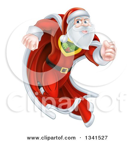 Super Hero Santa Claus Running in a Christmas Suit and Cape Posters, Art Prints