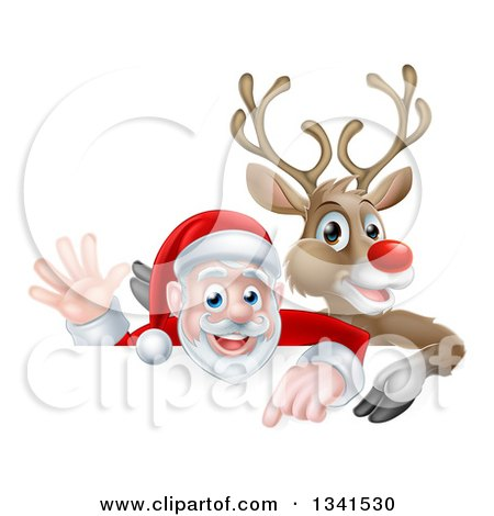 Clipart of a Cartoon Christmas Rudolph the Red Nosed Reindeer and Waving Santa over a Sign - Royalty Free Vector Illustration by AtStockIllustration