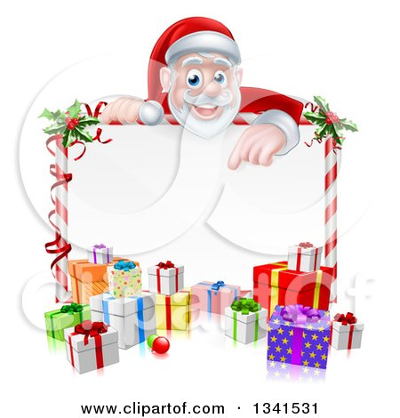 Clipart of a Cartoon Christmas Santa Claus Pointing down over a Blank Sign with Gifts - Royalty Free Vector Illustration by AtStockIllustration