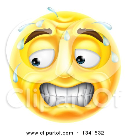 Clipart of a 3d Yellow Smiley Emoji Emoticon Face Looking Stressed, Worried or Embarassed - Royalty Free Vector Illustration by AtStockIllustration