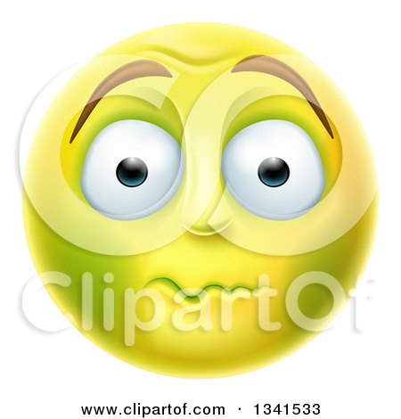 Clipart Of A 3d Yellow Smiley Emoji Emoticon Face About To Vomit Royalty Free Vector Illustration