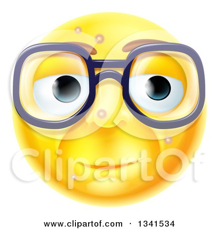 3d Blemished Yellow Smiley Emoji Emoticon Face Wearing Glasses Posters, Art Prints