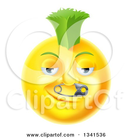 Clipart of a 3d Punk Yellow Smiley Emoji Emoticon Face with a Safety Pin in His Nose and a Green Mohawk - Royalty Free Vector Illustration by AtStockIllustration