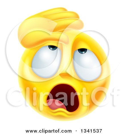 Clipart of a 3d Yellow Smiley Emoji Emoticon Face Dramatically Fainting - Royalty Free Vector Illustration by AtStockIllustration