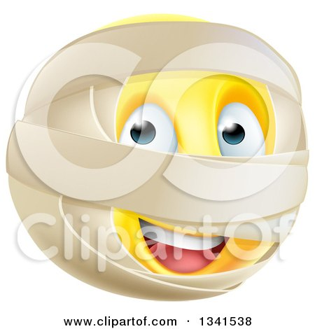 Clipart of a 3d Yellow Smiley Emoji Emoticon Face with Mummy Wrappings - Royalty Free Vector Illustration by AtStockIllustration