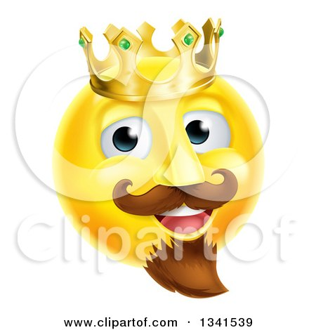 Clipart of a 3d Yellow Smiley Emoji Emoticon Face King Wearing a Crown - Royalty Free Vector Illustration by AtStockIllustration