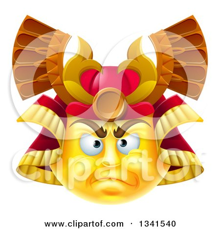 3d Yellow Smiley Emoji Emoticon Face in a Samurai Warrior Helmet Posters, Art Prints