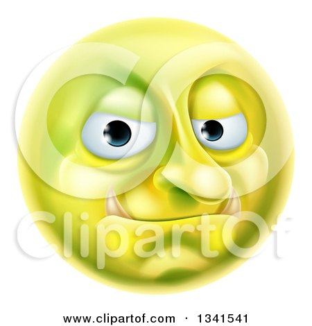 Clipart Of A 3d Forum Troll Yellow Smiley Emoji Emoticon Face Royalty Free Vector Illustration