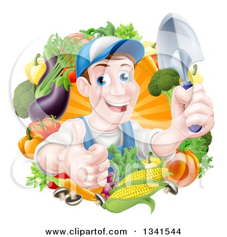 Clipart of a Middle Aged Brunette White Male Gardener in Blue, Holding up a Shovel and Giving a Thumb up in a Wreath of Produce - Royalty Free Vector Illustration by AtStockIllustration