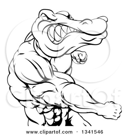 Clipart of a Black and White Tough Muscular Crocodile or Alligator Man Punching - Royalty Free Vector Illustration by AtStockIllustration