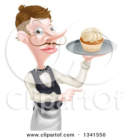 Clipart of a Cartoon Caucasian Male Waiter with a Curling Mustache, Pointing and Holding a Cupcake on a Tray - Royalty Free Vector Illustration by AtStockIllustration