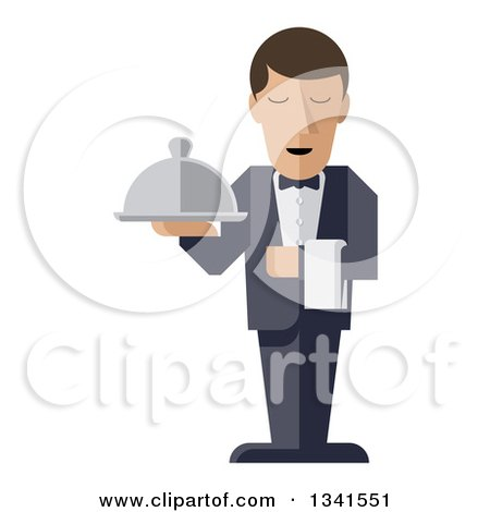 Clipart of a Stylized Male Waiter with a Curling Mustache, Standing with a Napkin Draped over His Arm and a Cloche Platter in Hand - Royalty Free Vector Illustration by AtStockIllustration