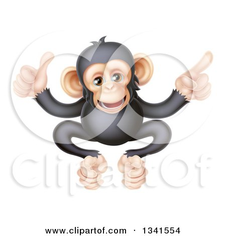 Clipart of a Cartoon Black and Tan Happy Baby Chimpanzee Monkey Giving a Thumb up and Pointing - Royalty Free Vector Illustration by AtStockIllustration