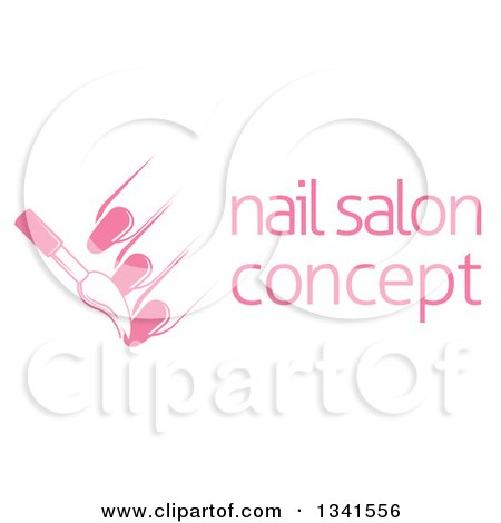 Clipart of a White and Pink Nail Polish Brush and Fingers Next to Sample Text - Royalty Free Vector Illustration by AtStockIllustration