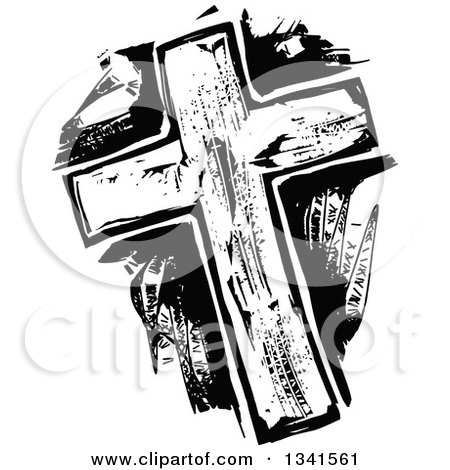 Clipart of a Black and White Woodcut Styled Cross - Royalty Free Vector Illustration by Prawny