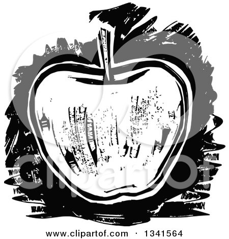 Clipart of a Black and White Woodcut Styled Apple - Royalty Free Vector Illustration by Prawny