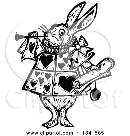 Clipart of a Black and White Woodcut Styled Herald Rabbit Blowing a Trumpet - Royalty Free Vector Illustration by Prawny