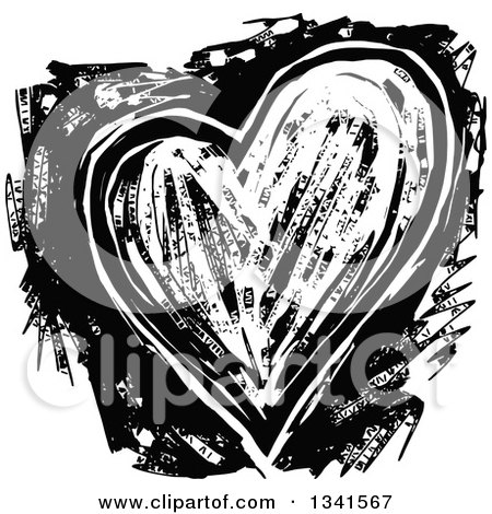 Clipart of a Black and White Woodcut Styled Heart - Royalty Free Vector Illustration by Prawny