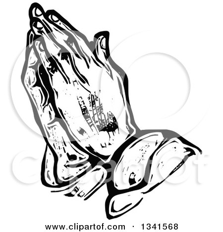 Clipart of a Black and White Woodcut Styled Praying Hands - Royalty Free Vector Illustration by Prawny