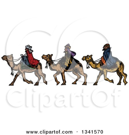 Clipart of Woodcut Styled Wise Men on Camels - Royalty Free Vector Illustration by Prawny