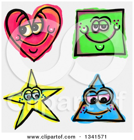 Clipart of Sketched and Watercolored Happy Shape Characters - Royalty Free Illustration by Prawny